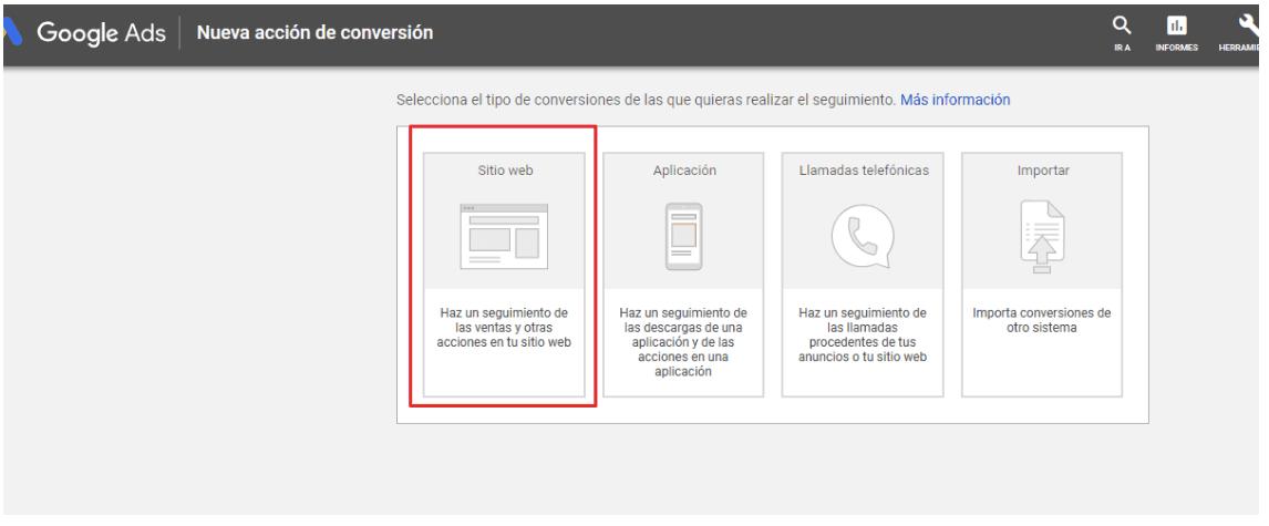 Seguimiento de Conversiones - Añadir una nueva acción de conversión - Selección página web