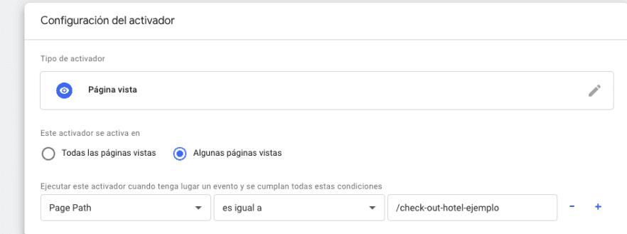 Seguimiento de Conversiones - Añadimos URL de la página de activación