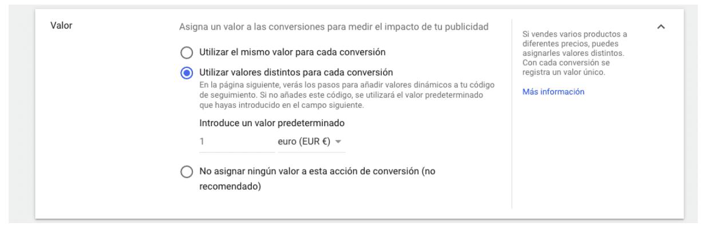 Seguimiento de Conversiones - Utilizar valores distintos para cada conversión