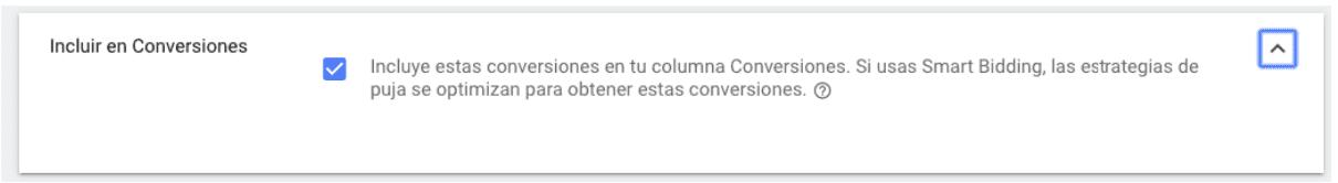 Seguimiento de Conversiones - Incluir en conversiones